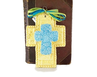 Cross on Cross/ Baby blue and yellow
