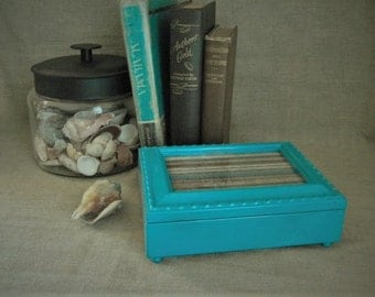 Blue Lagoon Musical Jewelry Box / Upcycled Teal Blue Jewelry Box/Music Box / Coastal Blue  Music Jewelry Box