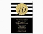 Gold 16th Birthday Party Invitation, Black and White Stripes, Sweet Sixteen Birthday Invitation, Milestone Birthday, Printable Invitation