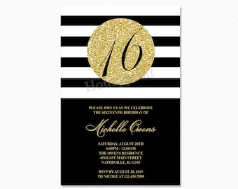 Gold 16th Birthday Party Invitation, Black and White Stripes, Sweet Sixteen Birthday Invitation, Milestone Birthday, Printable or Printed