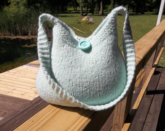 11-1042  Handknitted felted wool purse,tote,handbag fs
