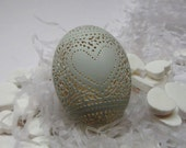 Hand Carved Victorian Lace Duck Egg Valentine