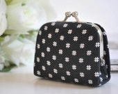 Hashtag in Black - Tiny Kiss lock Coin Purse/Jewelry holder