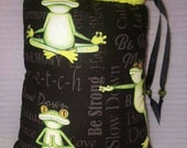 XL,Mini Rig,Bubbler,Pipe Bag, Frogs, Yoga, Frog,Print,Glass Pipe Protection,Pretty Pouches,Glass Pipe Bag,Protect Your Glass