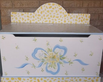 Blue and Yellow, Kids and Baby, Benches & Toy Boxes, Kids  Furniture, Shabby Cottage Roses, Chic Rachael,  Custom Personalized free
