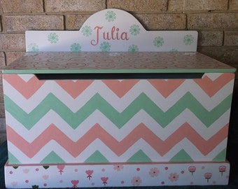 Coral and Mint, Chevron, Kids Furniture,Toy Chest, Toy Boxes, Toy Storage, Benches, Nursery decor