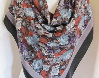 "Ellen Tracy // Black Leaves Large Silk Scarf // 35"" 90cm Square - My Fav"