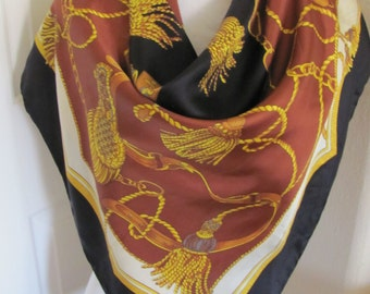 "Beautiful Black Brown Gold Silk Scarf  // 34"" Inch 88cm Square // Best of the Best"