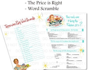Printable Retro Housewife themed Tupperware Party Games - Word Scramble and Price Is Right