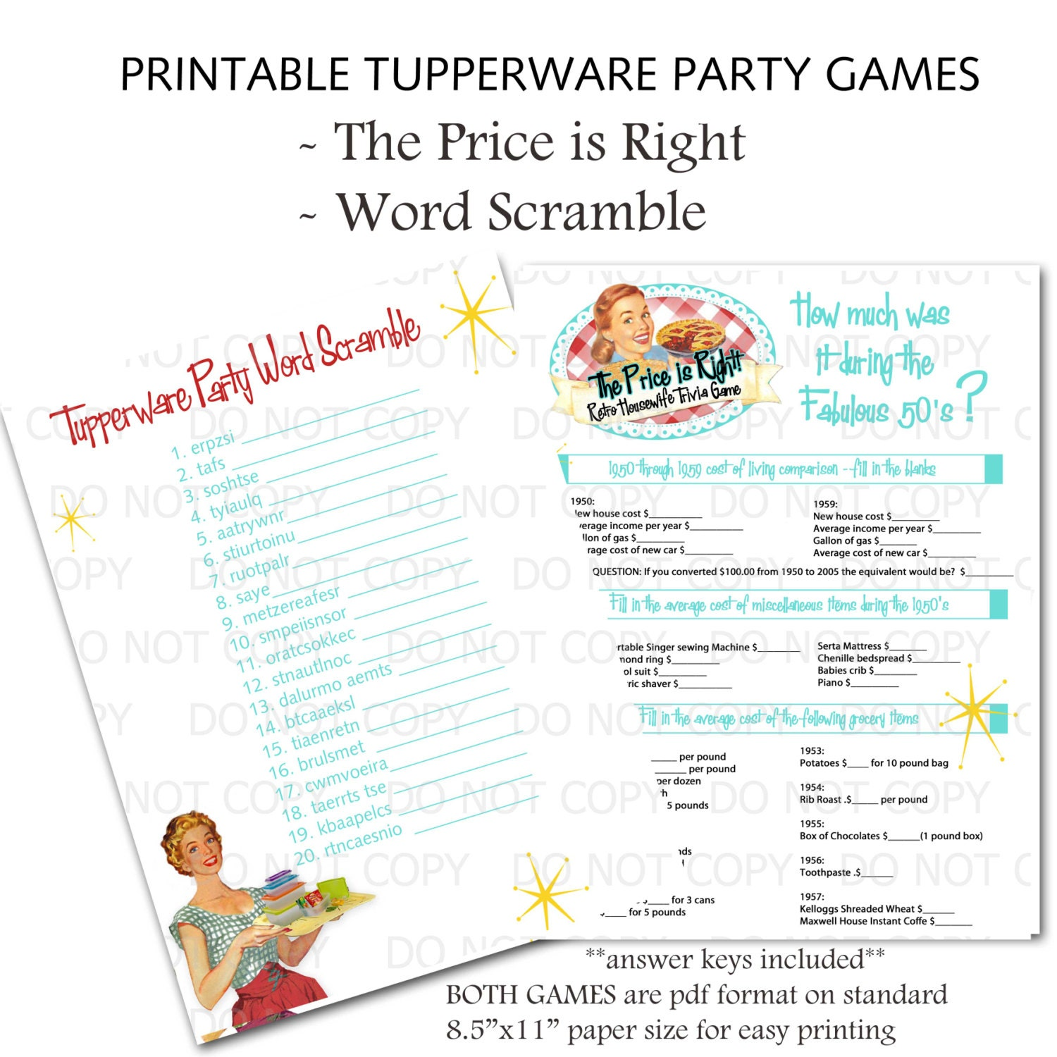 Printable Retro Housewife Themed Tupperware Party Games Word