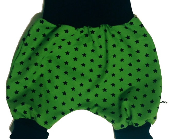 Baby kids toddler girl boy clothing harem pants baggy pants sweat pants, blue green stars, boys outfit. Size preemie - 3 y