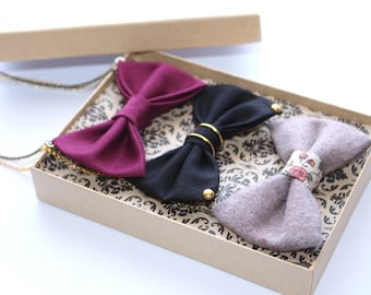 3 pcs Fall gift set - Bow Tie Necklace , Bow tie for Women and Girls, Pre Tied Necklace Bowtie, Thanksgiving, Halloween, Burgundy Dr Who