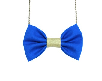 Blue Gold - Bow Tie Necklace, Football Fan Accessory, Women Bowtie, Royal Blue and Golden Yellow