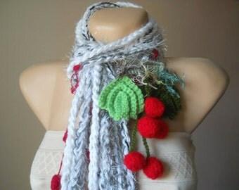 CROCHET SCARF / Women Accessories Scarves Loop Elegant Winter Romantic Warm / Muffler Hand Knitted Neckwarmers Chic Soft Gift Ideas Cowl