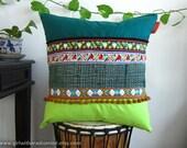 Boho Pillow Green - Colourful Decorative Throw Cushion - Bohemian OOAK in Dark Green and Lime Green