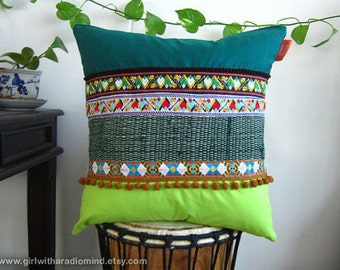 Green Pillow Boho - Colourful Decorative Throw Cushion - Bohemian OOAK in Dark Green and Lime Green