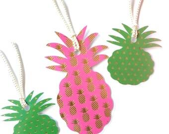 Set of 3 Pineapple  REUSABLE Gift tags