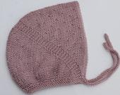 Hand Knit Girl Bonnet. 12 - 24 months