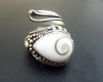 Handmade Sterling Silver and Shiva Eye Wrap Ring - White Shell Ring - Handmade Sterling Silver and Shiva Eye Boho Statement Ring - Size 7-9