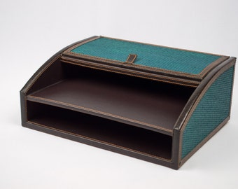 50% Off  Desk Dresser Organizer Faux Leather and Faux Suede Teal Wicker Trim