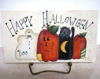Hand Painted Sign Happy Halloween Prim Pumpkin Boo OFG Team Tole Holiday Home Decor Wall Hanging