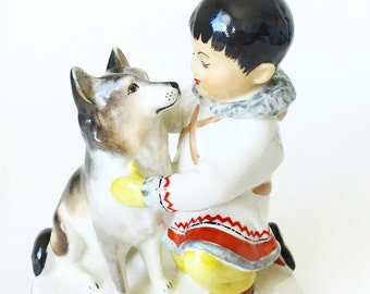 Collectible Russian Porcelain Figurine  Eskimo Boy w/ Husky Dog Lomonosov USSR