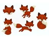 Fox Cabochon Embellishments 5pc