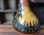 Trick or Treat Haunted House Halloween Vintage Style dried gourd Hand Painted Folk Primitive