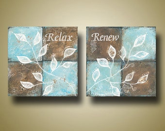 CLEARANCE Relax or Renew Spa Art -- Limited Edition Prints -- Leaf Art -- Brown and Blue