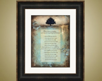 PRINT or GICLEE Reproduction -- Beautiful Landscape Tree with Bible Verse, Christian Art, Bible Art - A Time for Everything