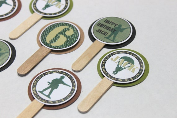 Army cupcake toppers - army birthday party, army party, camouflage ...