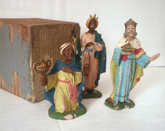 Vintage Nativity Creche Figures Fontanini Depose Italy Composition Wise Men Kings (3)