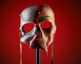 Undead Zombie Skull Handmade Genuine Leather Mask for Masquerades Halloween or Cosplay Costume - Half a' Zombie