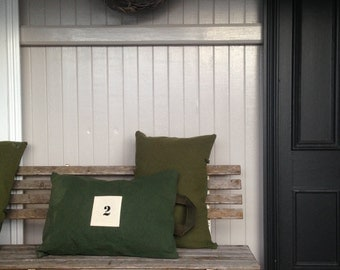 khaki green wool and canvas cushion - oblong - made in australia - norwellan