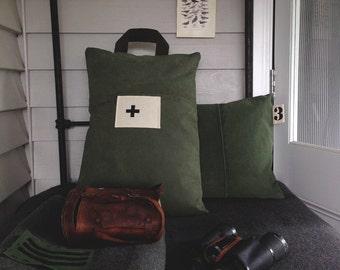 dark green canvas cushion - oblong - made in australia - cross