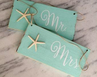Nautical Starfish Mr and Mrs wedding chair signs