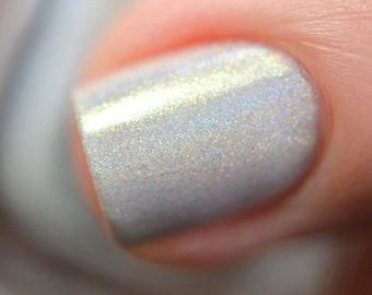 "Nail polish - ""Crystal Crown"" White linear holographic polish"