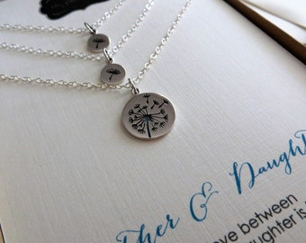 Mother two daughter jewelry, Dandelion charm necklace, sterling silver, gift for mom of 2 children