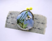 Wet Felted Snowdrops coin purse Ready to Ship with bag frame metal closure Handmade  gift for her under 50 USD