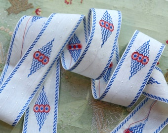 """antique art deco ribbon 1930s embroidrered cotton red white blue 1 7/16""""  flapper flower trim very intricate pattern"""