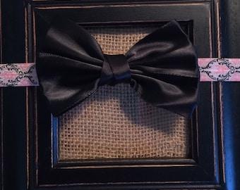Damask Boutique Newborn Headband Black Satin Boutique Bow Infant Headband