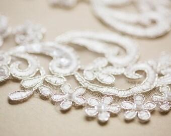 Floral Bridal Lace applique - Appset- 43 Silver