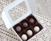 Fake Chocolate Truffles, Set of 6 in candy box, Display Prop