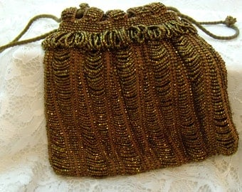 Vintage 1920's Micro Glass Bead Drawstring Flapper Purse