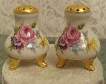 Footed, Hand Painted Vintage Salt and Pepper Shakers with Rose Motif
