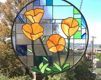 "California Poppies over Geometric Circle 1 -  20.5 x 20.5"" Stained glass window"