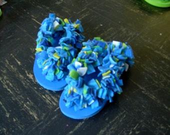 Fun Fuzzy Flip Flops in Blue