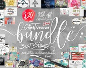 95% Off Sale - Bundle of Fonts and Graphics  - hand drawn digital font deal for typography - Brush, script, Watercolor Digital Paper