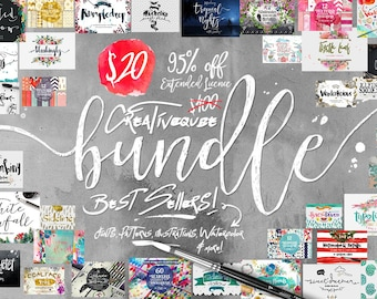 95% Off Sale - Bundle of Fonts and Graphics - hand drawn digital font bundle for typography - ...
