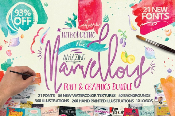 93% OFF Sale, Marvellous fonts Bundle, modern calligraphy, wedding fonts, Watercolor Clipart, Digital Paper